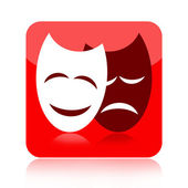 Comedy and tragedy theatrical masks icon — Stock Photo