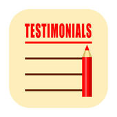 Testimonials paper icon isolated on white background — Stock Photo