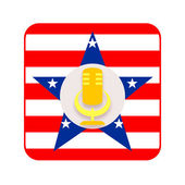 American icon with golden microphone — Stock Photo