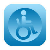 Handicapped person in wheelchair icon — Stock Photo