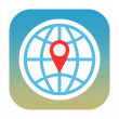 Globe and map pin icon — Stockfoto #34618445
