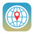 Globe and map pin icon — Stock Photo #34618445
