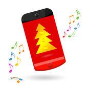 Happy smartphone celebrating Christmas sale — Stock Photo