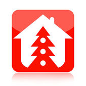 Christmas tree home icon — Stock Photo