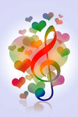 Love hearts music — Stock Photo