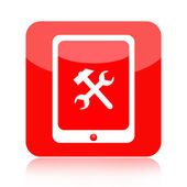 Tablet pc icon with working tools — Stockfoto