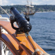 Swivel gun on deck — Stock Photo