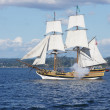 The wooden brig, Lady Washington, fires her cannon — Stock Photo