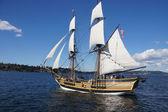 Drewniane bryg, lady washington, żagle na jeziorze washington — Zdjęcie stockowe