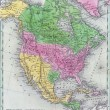 Antique map of North America — 图库照片