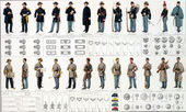 Uniforms and badges of Union and Confederate cavalry — Stock Photo