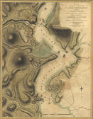 Map of naval attacks on the Hudson River forts, 1777 — Stock Photo