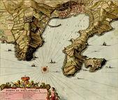 Antique map of Port of Villafranca — Stock Photo