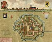 Antique map of Diksmude (Dixmude), Belgium — Stock Photo
