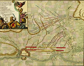 Antique map of battle of Maestrich (Maastricht), 1673, — Stock Photo