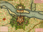 Antique map of Hunigue, France. — Stock Photo