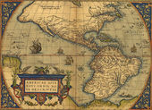 Antique Map of North and South America — Photo