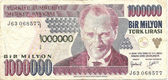 One million lira note from Turkey — Stock Photo