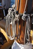Sail lines belayed on mast — Stockfoto