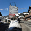 Stock Photo: Signs identify towns of Haut Savoie ski resorts