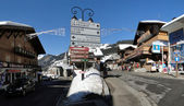Signs identify the towns of the Haut Savoie ski resorts — Stock Photo