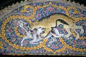 Lampart polowanie na łuku mozaika, — Zdjęcie stockowe