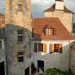 Courtyard of a medieval chateau - Stock Photo