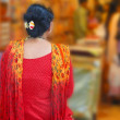 Indiwomin colorful sari browses market stores — Stock Photo #13321000