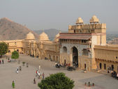 Courtyard and interior of Amber Fort, — Stock Photo