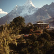 Thyangboche monastery and peak of Ama Dablam - Stock Photo