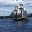 The wooden brig, Lady Washington, sails on Lake Washington — Lizenzfreies Foto