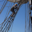 Crew descends the rigging — Stock Photo