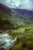 Terraced fields near Lukla — Stok fotoğraf