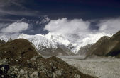 Himalayan highlands, glaciers and huge moraines — Stock Photo