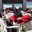 Stock Photo: Skiers relax at high mountain restaurant