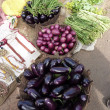 Stock Photo: Eggplants and other vegetables at tribal market