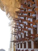 Ankh spiked gate for defense against war elephants — Stock Photo