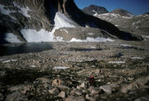 Mt Mendel and alpine lake — Stock Photo