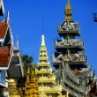 Golden spires of Buddhist stupas in temple,   Shwedagon Pagoda — ストック写真
