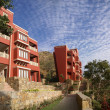 Modern hotel in mountains of Rajasthan - Stock Photo