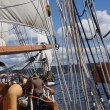 Постер, плакат: The crew rigs the sails of the Hawaiian Chieftain
