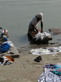 Dhobiwallah washes clothes in the Ganges River — Stock Photo