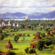 Stock Photo: Temples on green Pagplain