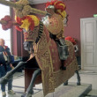 Armor of late medieval knight mounted on horse, — Stock Photo