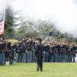 Stock Photo: Union infantry line fires volley