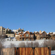 Townhouses and condos in winter snow — Stock Photo