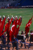 Red Turkish flags carried by school children — Foto Stock