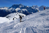 Skier with Dents du Midi — Stock Photo