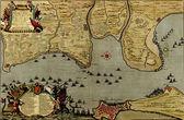 Antyczna mapa bitwy Kadyksu, 1701 w Hiszpanii — Zdjęcie stockowe