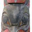 Stock Photo: Detail, Totem pole carved from cedar,